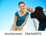 happy attractive man and woman... | Shutterstock . vector #346460870