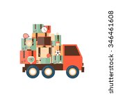 car carries things. moving flat ...   Shutterstock .eps vector #346461608