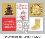 set of creative christmas hand... | Shutterstock .eps vector #346474220