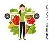 healthy lifestyle design ... | Shutterstock .eps vector #346477298