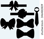 set gift bows with ribbons and...   Shutterstock . vector #346482839