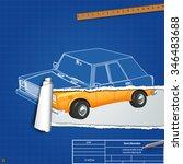 torn blueprint car. vector... | Shutterstock .eps vector #346483688