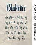 Blackletter modern gothic font. All alphabet over old grunge textured paper background