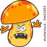 Evil Mushroom Vector Illustration - stock vector