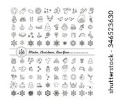 set of icons   new year ... | Shutterstock .eps vector #346523630