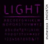 alphabet of purple lights on... | Shutterstock . vector #346528724
