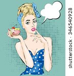 pop art illustration of woman... | Shutterstock .eps vector #346540928