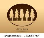 silhouette  cowboy gangs on... | Shutterstock .eps vector #346564754