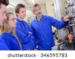 tutor explaining pipework to... | Shutterstock . vector #346595783
