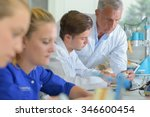team of technicians in dental... | Shutterstock . vector #346600454