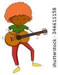 man playing classical guitar...   Shutterstock .eps vector #346611158