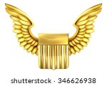 a winged gold metal shield... | Shutterstock .eps vector #346626938