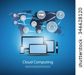cloud computing concept with... | Shutterstock .eps vector #346628120