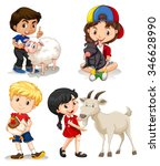 boys and girls with farm... | Shutterstock .eps vector #346628990