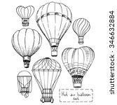 hot air balloon set  contour... | Shutterstock .eps vector #346632884