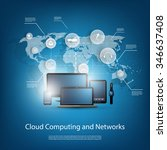 cloud computing concept with... | Shutterstock .eps vector #346637408