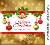 golden christmas bells with red ... | Shutterstock .eps vector #346639343