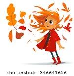 cartoon cute smiling girl in... | Shutterstock .eps vector #346641656