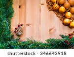 cristmas ornaments on wooden... | Shutterstock . vector #346643918