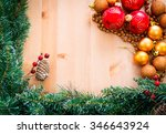 cristmas ornaments on wooden... | Shutterstock . vector #346643924