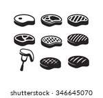 vector black steak icon on...   Shutterstock .eps vector #346645070