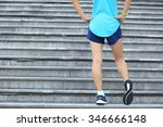 fitness woman runner stretching ... | Shutterstock . vector #346666148