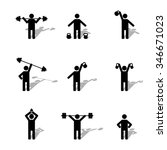 a set of silhouettes athlete... | Shutterstock .eps vector #346671023