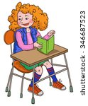 happy caucasian girl at classes ... | Shutterstock .eps vector #346687523