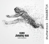 jumping man  particle divergent ... | Shutterstock .eps vector #346688714