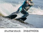 Closeup Man Riding Water Skis...