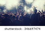fireworks and crowd celebrating ... | Shutterstock . vector #346697474
