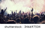 fireworks and crowd celebrating ... | Shutterstock . vector #346697534