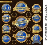 golden retro badges and labels... | Shutterstock .eps vector #346723226