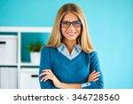 smiling business woman standing ... | Shutterstock . vector #346728560