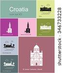 landmarks of croatia. set of... | Shutterstock .eps vector #346733228
