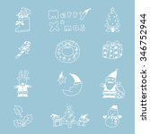 christmas hand drawn icon's set.... | Shutterstock .eps vector #346752944