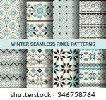 collection of pixel retro... | Shutterstock .eps vector #346758764