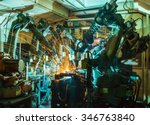 team welding robot movement... | Shutterstock . vector #346763840