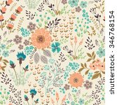 seamless vector floral pattern  ... | Shutterstock .eps vector #346768154