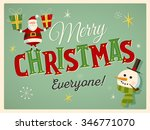 vintage style christmas card... | Shutterstock .eps vector #346771070