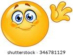 cute emoticon waving hello | Shutterstock .eps vector #346781129
