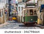 vintage tram in the city center ... | Shutterstock . vector #346798664
