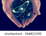 atomic orbitting particle being ... | Shutterstock . vector #346821350