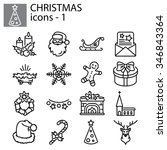 web icons set. christmas and... | Shutterstock .eps vector #346843364