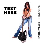 pretty woman with guitar  space ...
