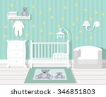 baby room with furniture... | Shutterstock .eps vector #346851803