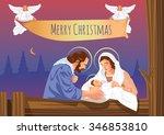christmas christian nativity...   Shutterstock .eps vector #346853810