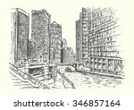 chicago city scene hand drawn... | Shutterstock .eps vector #346857164