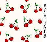 cherry seamless pattern. vector ... | Shutterstock .eps vector #346859978