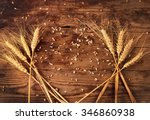 Ears Of Wheat On Wooden...